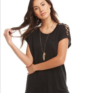 Chaser Linen Jersey Strappy Shoulder Pocket Tee